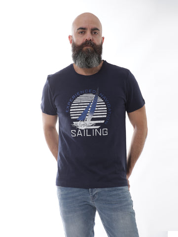 Sailing Designed Print T-shirt In Navy