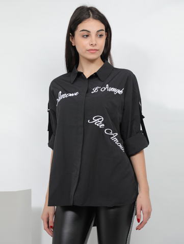 Embroidered Design Shirt In Black