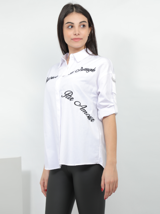 Embroidered Design Shirt In White