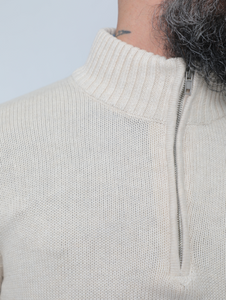 Knitted High-neck Sweater With Zipper