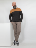 Two Colored Casual Sweater In Brown