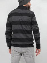 Load image into Gallery viewer, Striped Sweater With Half Zipper In Black