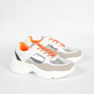 Rouge Rose White And Silver Sneaker With Orange Laces