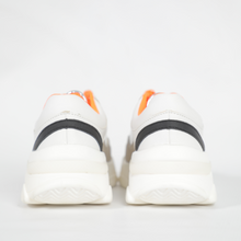 Load image into Gallery viewer, Rouge Rose White And Silver Sneaker With Orange Laces