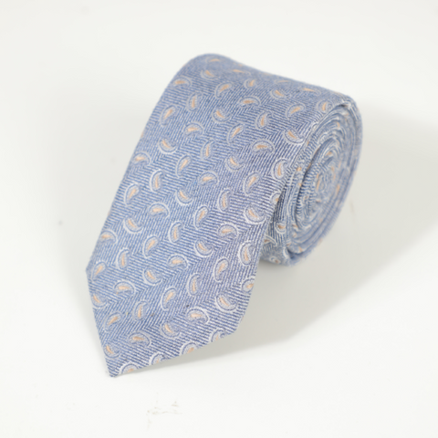 D's Damat Blue Tie With Micro Pattern Design