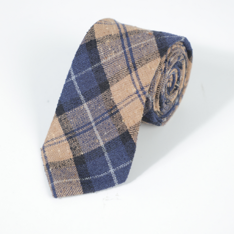 Navy And Beige Checked Tie