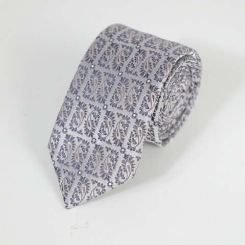 D's Damat Gray Tie With Pattern