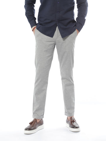 Jack Dapper Linen Pants With Stripes Design In Grey