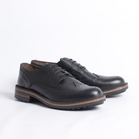 Gianno Ricci Wingtip Smart Casual Shoes In Black