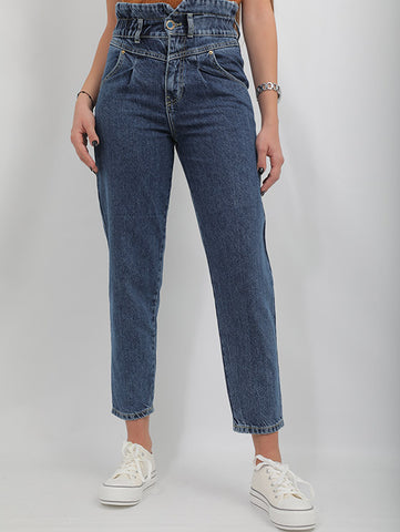 High Waist Jeans With A Navy Blue Wash