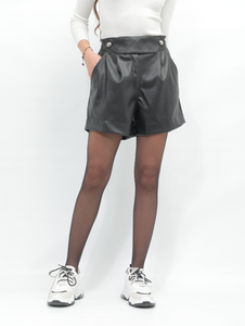 High-waisted Leather Short