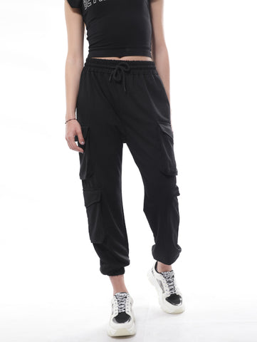 Cargo Sweatpants With Three Flap Pockets In Black