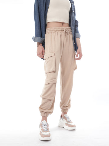 Cargo Sweatpants With Three Flap Pockets In Beige