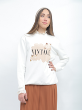 Load image into Gallery viewer, White Pullover With Vintage Printed Design