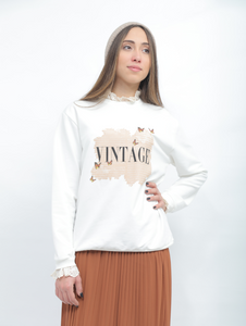 White Pullover With Vintage Printed Design
