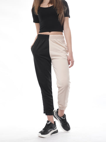 Double Colored Sweatpants In Black And Beige