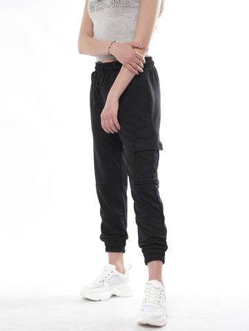 Casual Cargo Sweatpants In Black