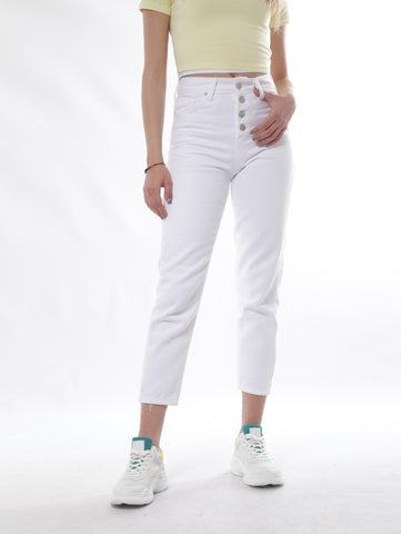 White Slim Jeans With Buttons