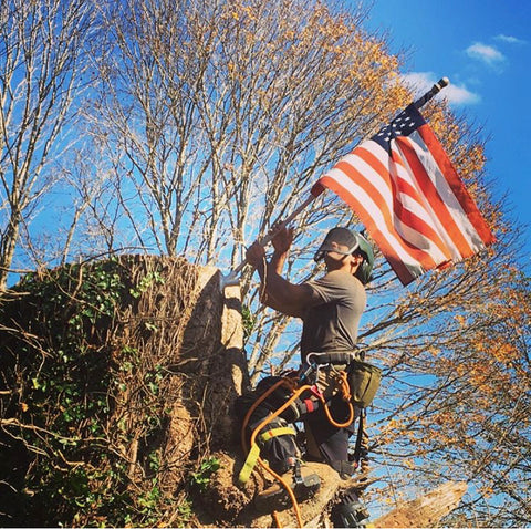 Justin Devasthali holding an American flag by a tree stump.