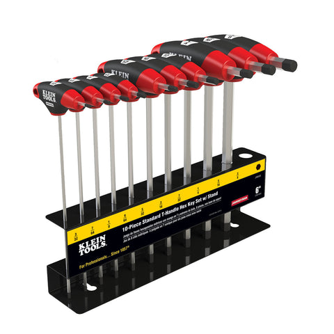 Klein Tools 10 pc 6'' SAE Journeyman T-Handle Hex Key Set with Stand - JTH610E