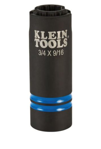 "Klein 3 -in-1 Slotted Impact Socket, 12-Point, 3/4 and 9/16"" 66031"