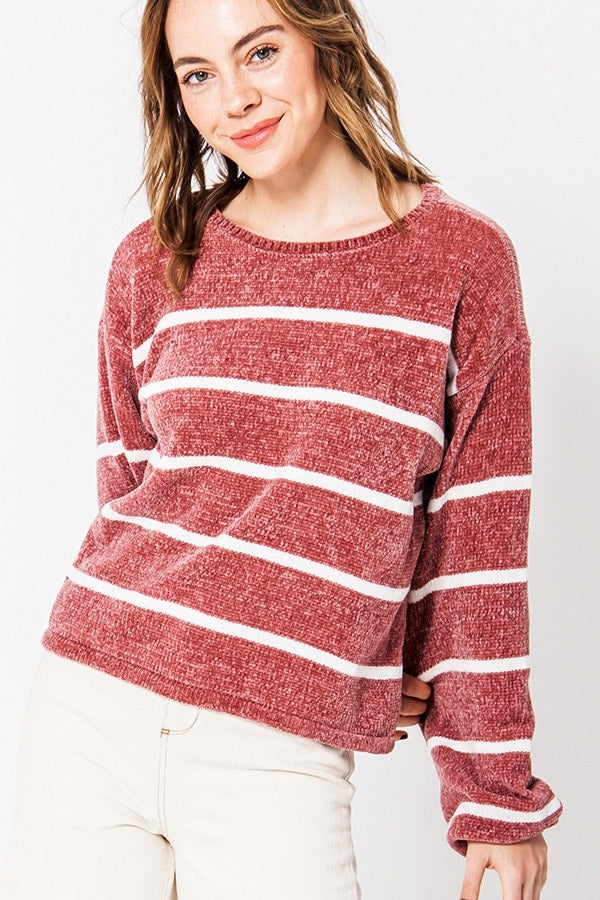 Women's Striped Ballon Sleeve Chenille Sweater- Pink