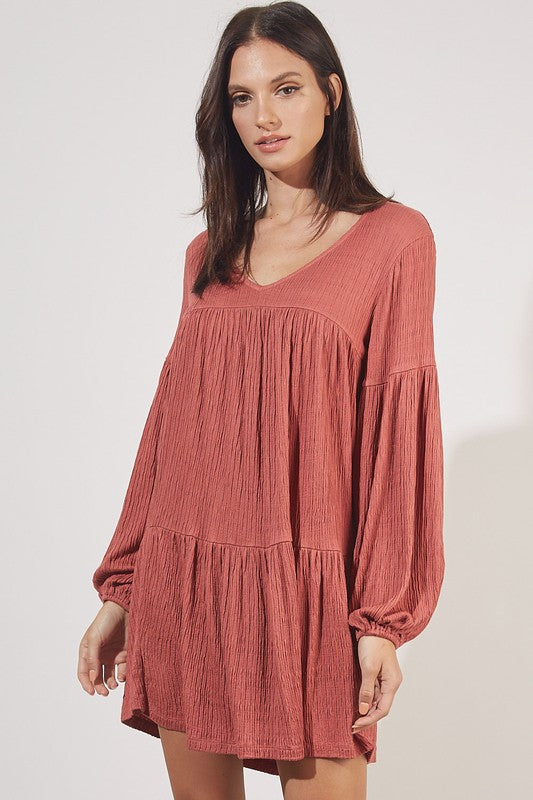 Women's Crinkle Knit Tunic- Red Wood