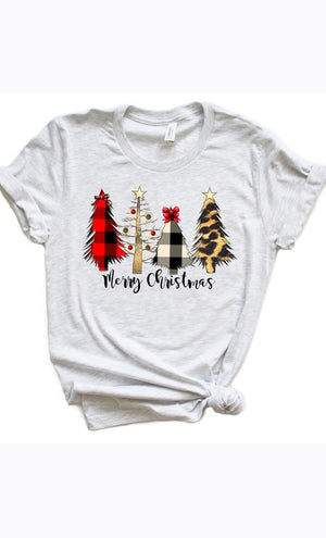 Women's Merry Christmas Graphic Tee- Ash Grey