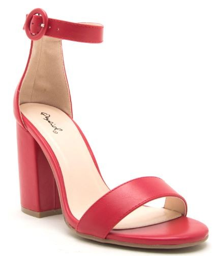 Women's Chunky Solid Heels- Red