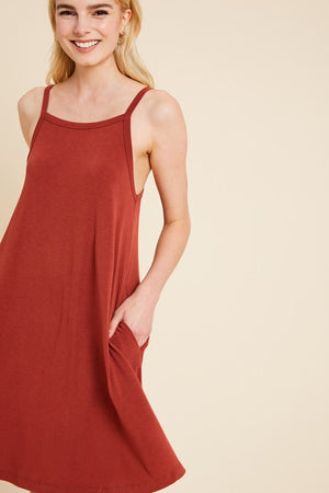 Women's Square Neck Pocket Dress- Rust