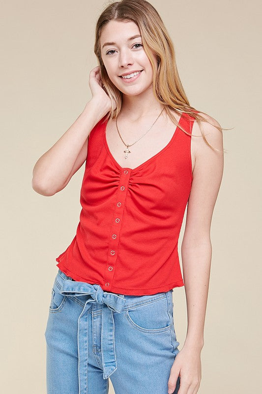 Women's Ruched Snap Front Tank- Red