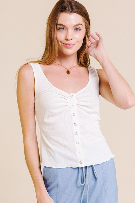 Women's Ruched Snap Front Tank- Off White