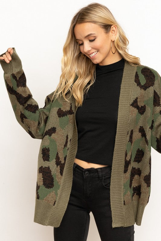 Women's Camoflage Cardigan- Olive Green