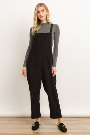 Women's Corduroy Bucked Overalls- Black