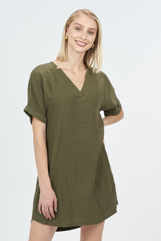 Women's Cuffed Sleeve V-Neck Dress- Olive