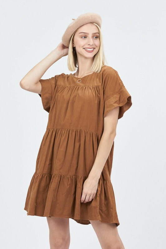 Women's Tiered Suede Dress- Camel