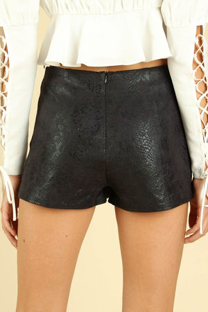 Women's Faux Leather Snake Skin Tulip Hem Skort- Black
