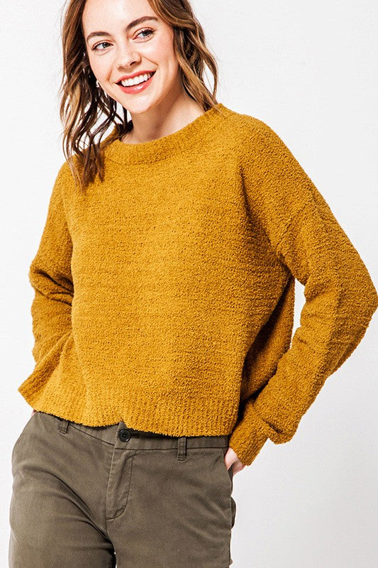 Women's Round Neck Chenille Sweater- Mustard
