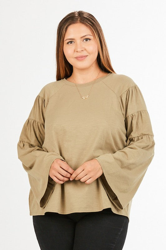 Women's Tiered Sleeve Top- Olive