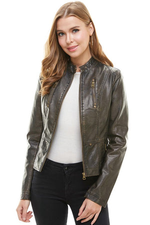 Women's Faux Leather Motorcycle Jacket- Washed Brown
