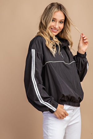 Women's Striped Windbreaker- Black
