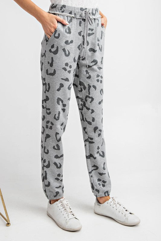Women's Leopard Joggers- Heather Grey