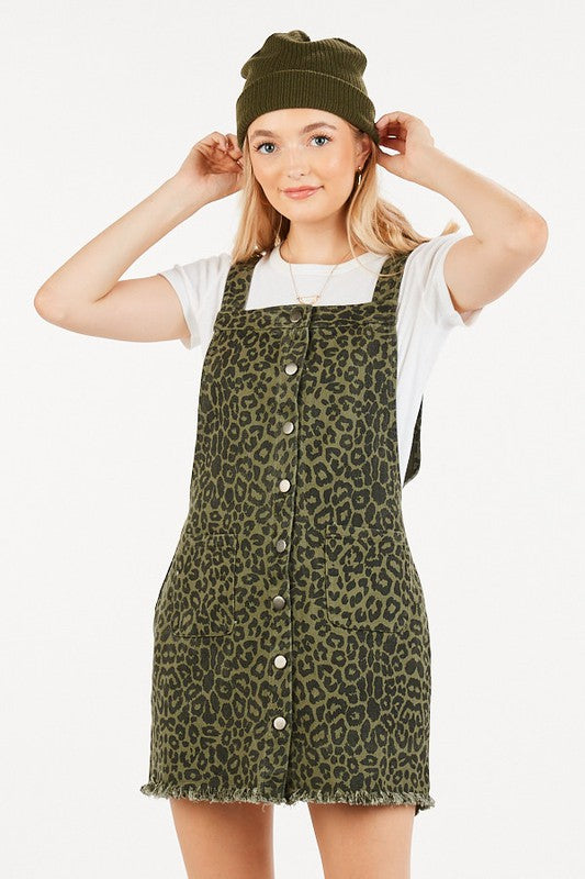 Women's Leopard Overall Dress- Olive