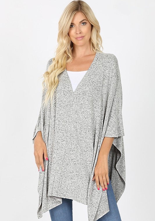 Women's Melange V-Neck Oversized Tunic- Heather Grey