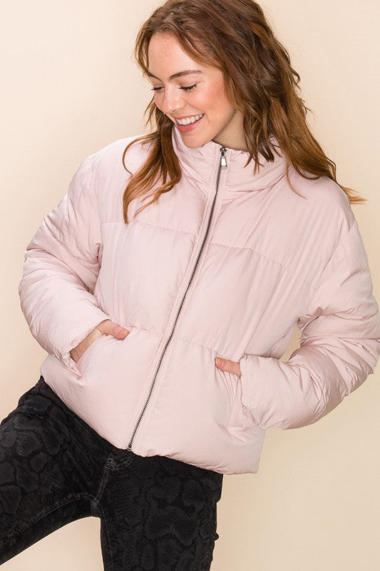 Women's Cropped Puffer Jacket- Dusty Pink