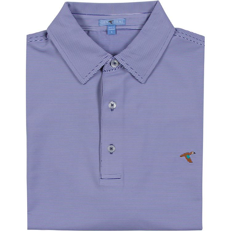 Men's GenTeal Apparel Pinstripe Performance Polo- Marlin