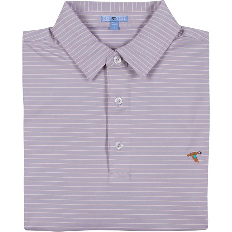 Men's GenTeal Apparel Cameo Bay Stripe Performance Polo- Dusk