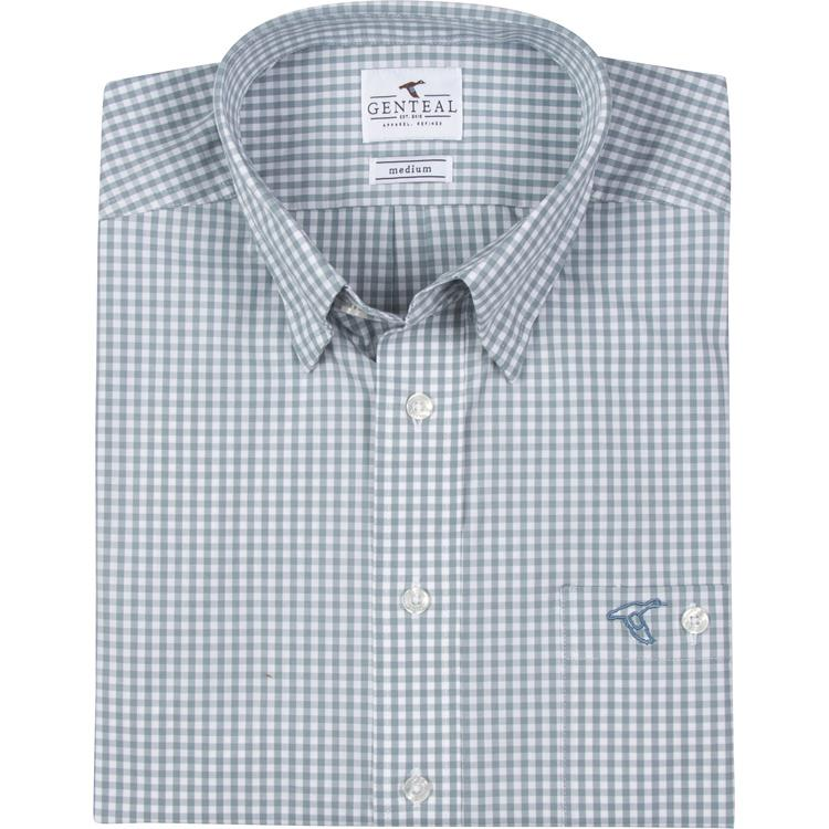 Men's GenTeal Apparel Caicos Gingham Sport Shirt- Stone Blue
