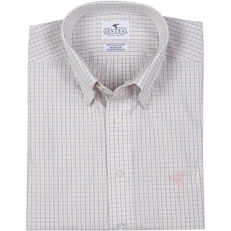 Men's GenTeal Apparel Exuma Plaid Sport Shirt- Sunset
