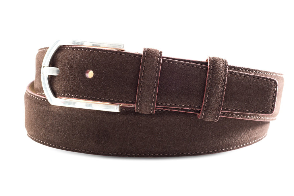 Men's Southern Tide Suede Belt- Chocolate